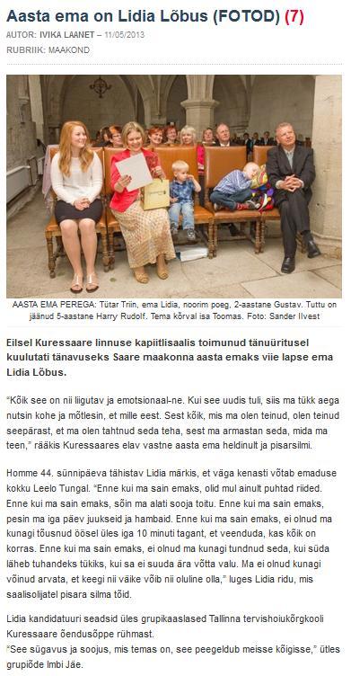 fd43543a874 Aasta ema on Lidia Lõbus (Saarte Hääl) | Tallinna Tervishoiu Kõrgkool